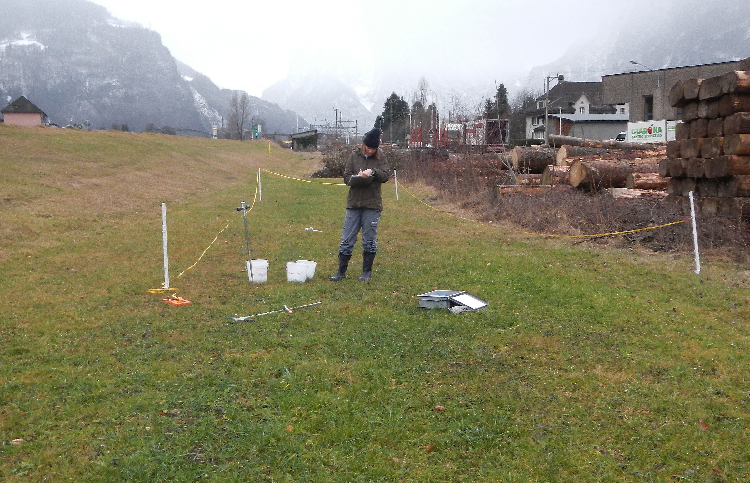 Taking composite soil samples to test for the presence of contaminants