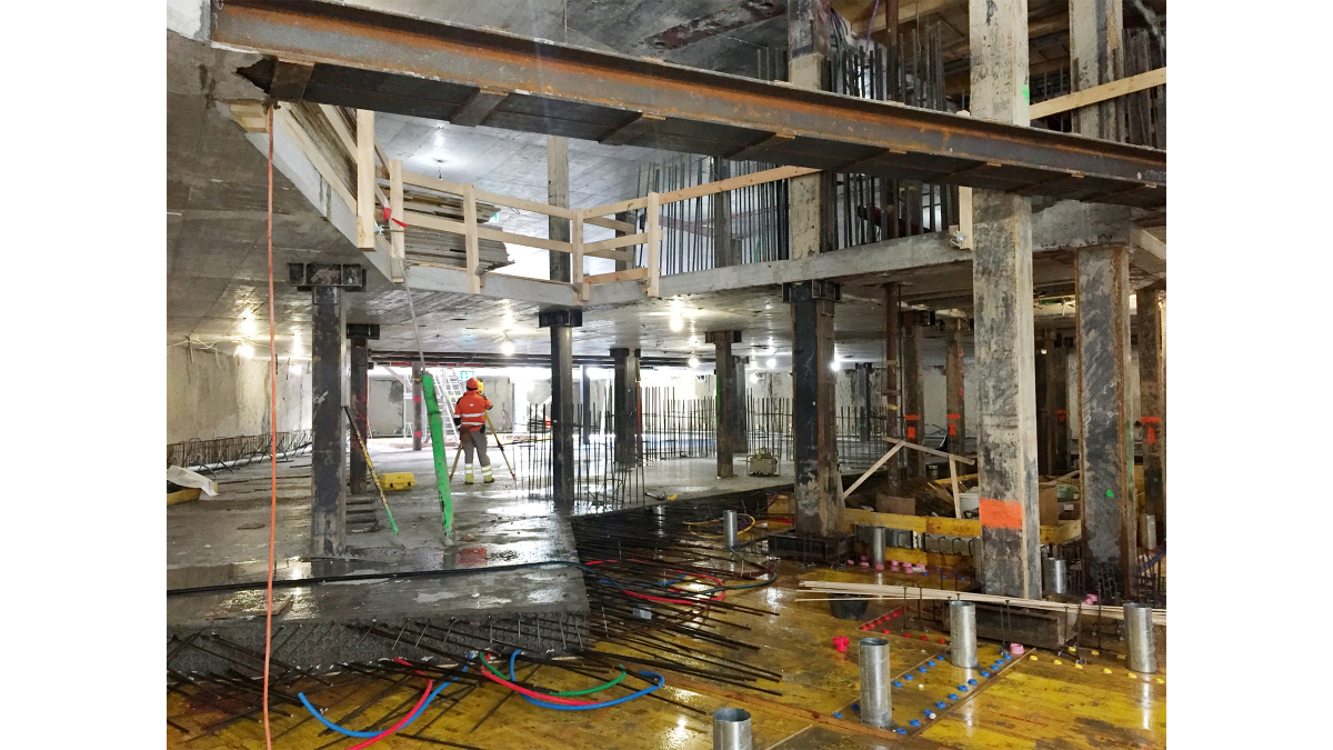 Work progresses on the underground levels in compliance with the strictest of work-safety requirements, including emergency lighting, escape routes, and ventilation.