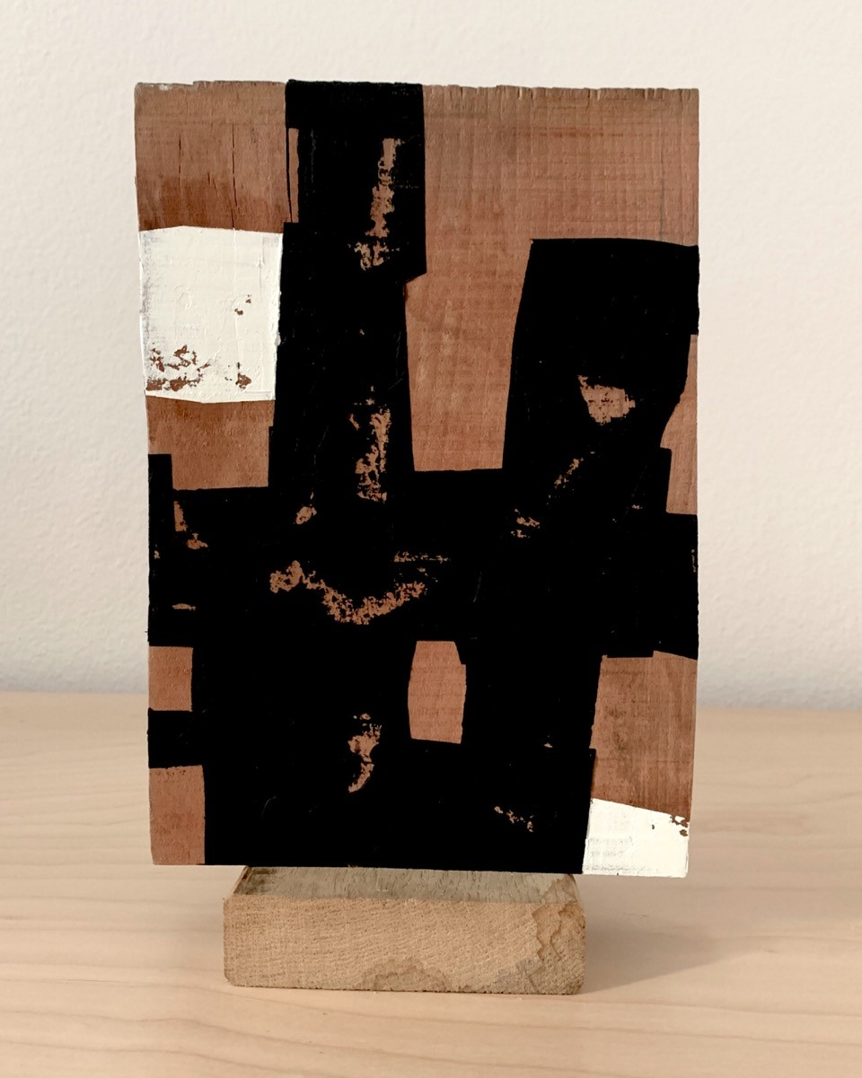 Wood block, 2020, Acrylic and oil paint on wood