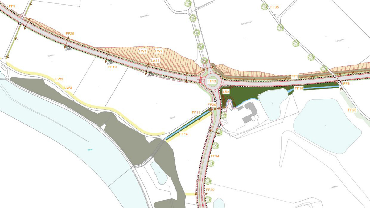 Extract of the landscape preservation plan for the Obfelden/Ottenbach bypass